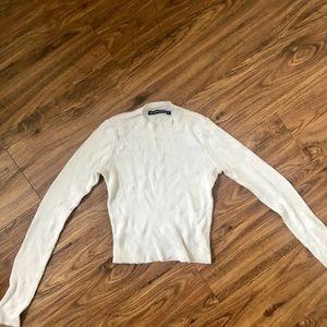 Brandy Melville White Mock Neck Long Sleeve Crop